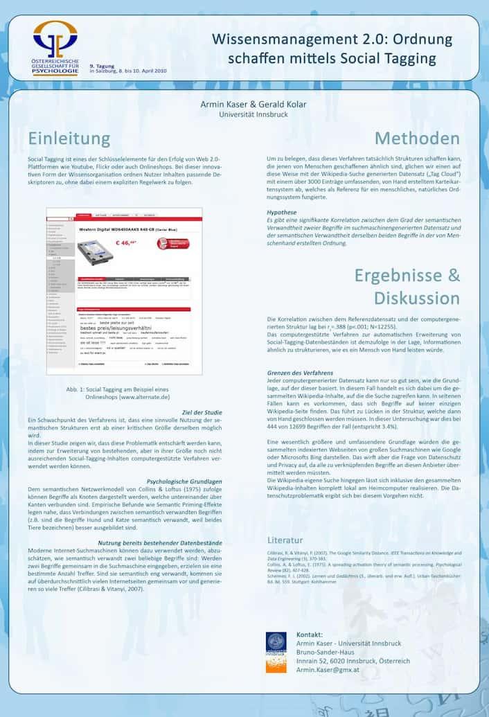 Poster zum Kongress ÖGP, Social Tagging, Prof. Gerald Kolar FH Wien