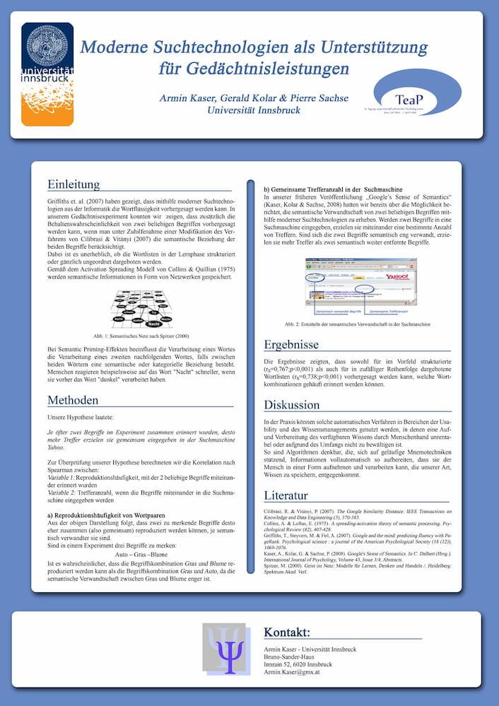 Poster zum Kongress TEAP, Experimentalpsychologie, mit Prof. Gerald Kolar FH Wien, Prof. Dr. Pierre Sachse, Universität Innsbruck