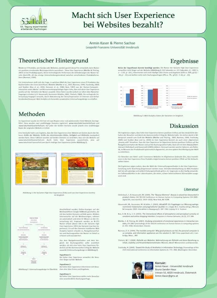 Poster zum Kongress Teap, Werbepsychologie, Prof. Pierre Sachse, Allgemeine Psychologie