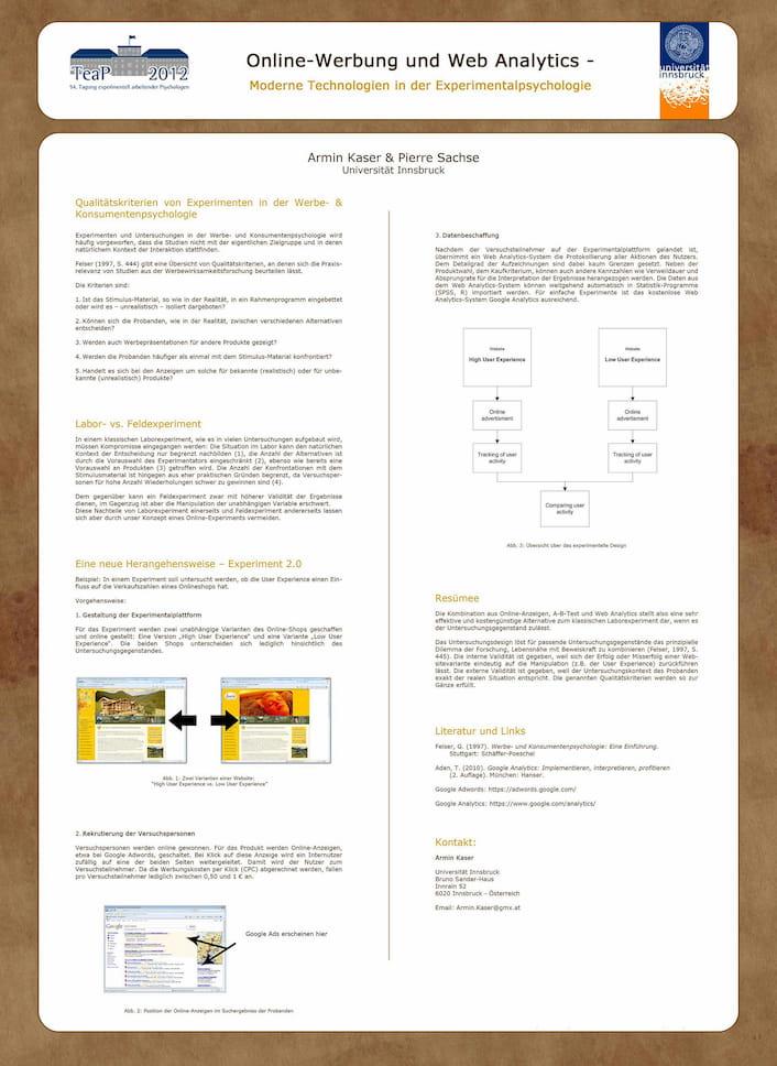 Poster zum Kongress TEAP, Experimentalpsychologie Online Marketing, mit Prof. Dr. Pierre Sachse, Universität Innsbruck