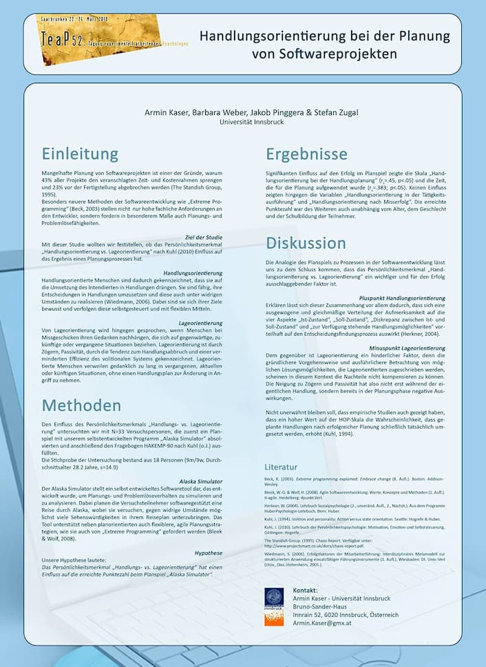 Poster zum Kongress Teap, Management, mit Ass.-Prof. Dr. Barbara Weber, Universität Innsbruck Quality Engineering